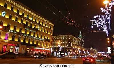 Nevsky Prospect in St Petersburg at Christmas night