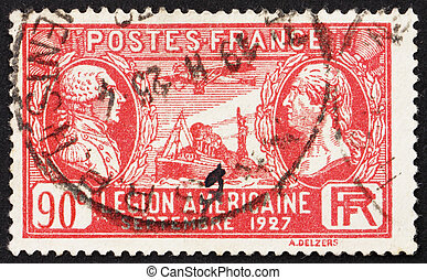 Postage stamp France 1927 Lafayette and Washington - FRANCE...