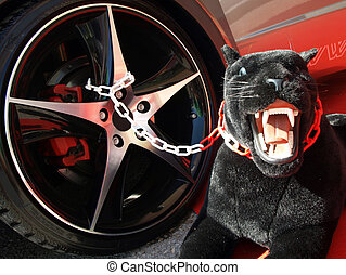 black panther - mascot of black panther protect the car