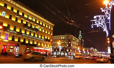 Nevsky Prospect in St. Petersburg at Christmas night - timelapse