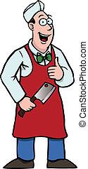 carnicero, cuchilla de carnicero, el suyo, pulgares, Arriba