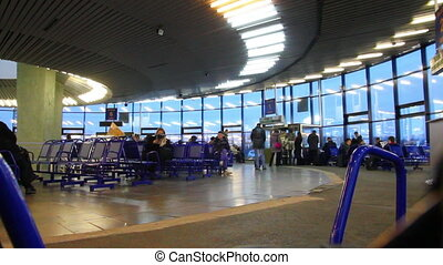 departure lounge at airport - timelapse