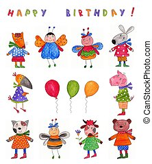 Happy Birthday. Greeting card - Artistic work. Watercolours...