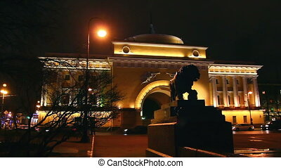 lion statue near hermitage in Saint Petersburg at night