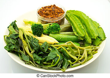Blanched vegetables with a spicy sauce