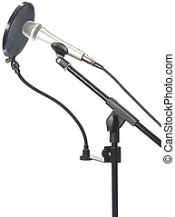 Microphone on stand with pop filter