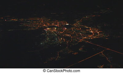 Night view on Kazan city from the height - from flying...
