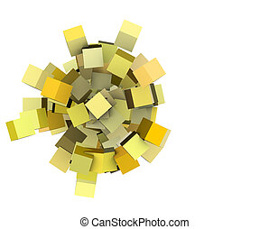 3d render concentric cubes in multiple yellow on white