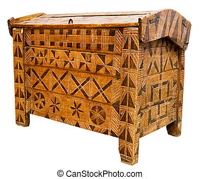 Antique wooden chest - Antique hand-made wooden chest,...