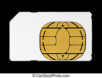 Blank White Sim Card for Mobile Cellphone Isolated on Black...
