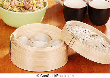 Asian dumpling in bamboo basket