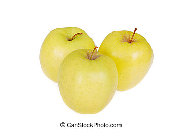 Golden Delicious focus on stem - closeup of Golden Delicious...