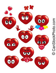 heart - Collection of Hearts with different facial...