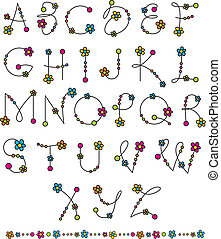 set flower latin alphabet - set vector flower latin alphabet