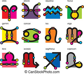set astrological symbol zodiac - set vector astrological...