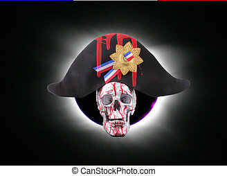 skull - A human skull with a napoleon hat and a solar...