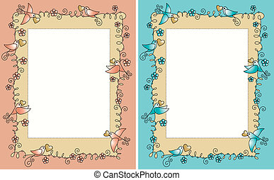baby photo frame with birds