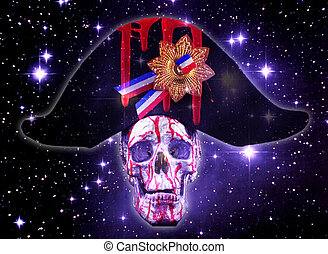 skull - A human skull with a napoleon hat and stars