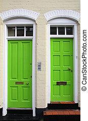 Green door - Birmingham. Old building with doors. West...