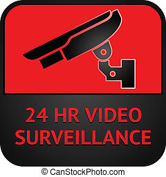 CCTV symbol, surveillance pictogram - Warning Sticker for...
