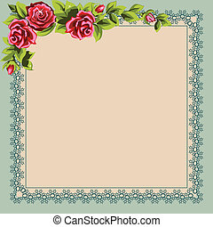 Vintage napkin and a bouquet of roses. Place for your text.