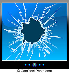 monitor crack - Frustrated by the monitor. Cracks. Blue...