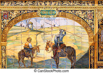 Don Quixote - Tile art in Plaza de Espana, Sevilla, Spain....