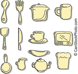 cartoon doodles food and kitchen stuff icons
