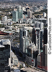 Melbourne, Australia. Aerial view of skyscraper city....