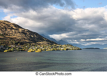 New Zealand - Queenstown, New Zealand Lake Wakatipu and rain...