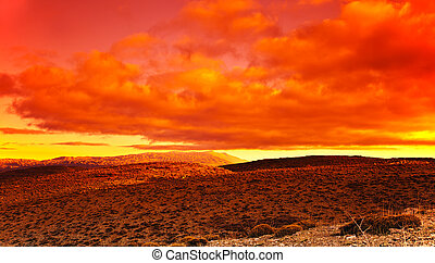 Dramatic red sunset at desert, beautiful natural landscape...