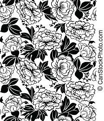 peonies seamless - Large leaves and flowers of peonies Black...