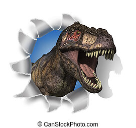 T-Rex Rips Through Your Document - A Tyrannosaurus Rex pokes...