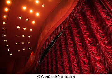 Theater stage with red curtain - Theater stage with many...