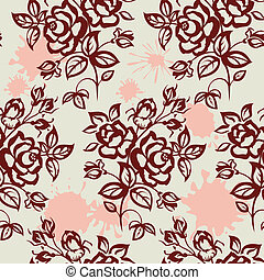 roses and blot seamless - Roses and blots Vintage, seamless...
