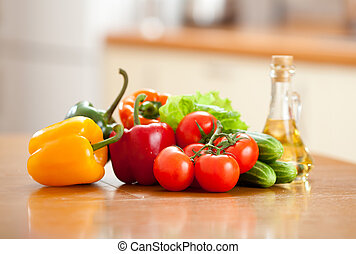 Healthy food fresh vegetables on the table in kitchen