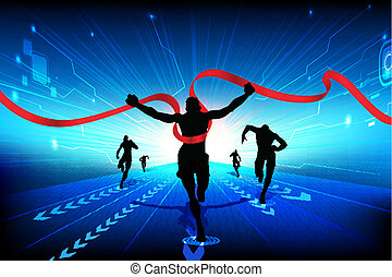Technology Race - illustration of men running on...