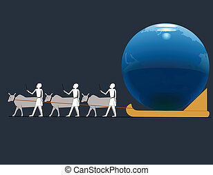 Ancient Egyptians driving big Earth  in a sledge