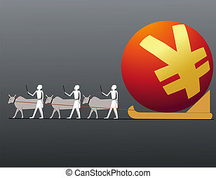 Ancient Egyptians driving big Yuan symbol in a sledge