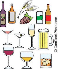 Cartoon Alcohol Related Items - An assortment of items...