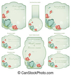 Wedding Reception Invitation Card - illustration of set of...