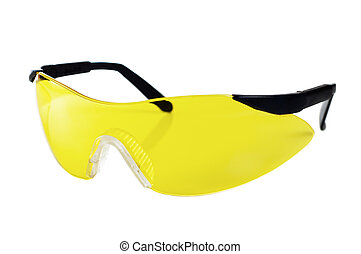 Yellow working goggles, it is isolated on white