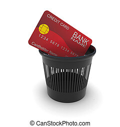 Credit card in a black trash. 3D rendering