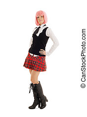 lovely schoolgirl with pink hair