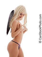 black lingerie angel girl - bright picture of black lingerie...