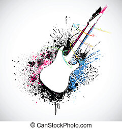 Grungy Guitar - illustration of guitar shape with colorful...
