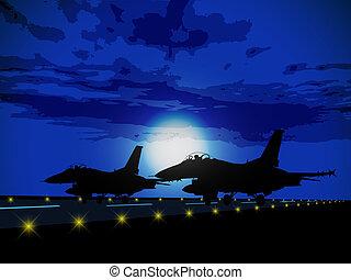 sylwetka, wojskowy, samoloty