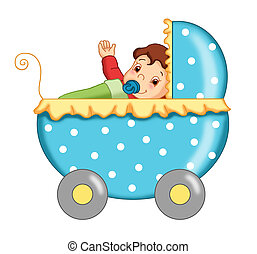 stroller with child - colored illustration of a blue...