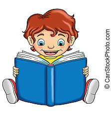 child that reads - colored illustration of a child that he...