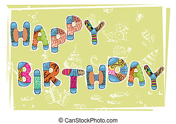 Birthday Card - illustration of happy birthday card with...